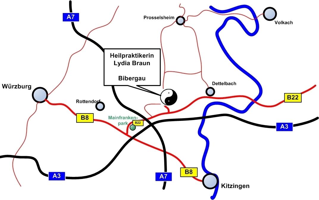 Die Naturheilpraxis liegt inmitten des Städte-Dreiecks Würzburg - Kitzungen - Dettelbach