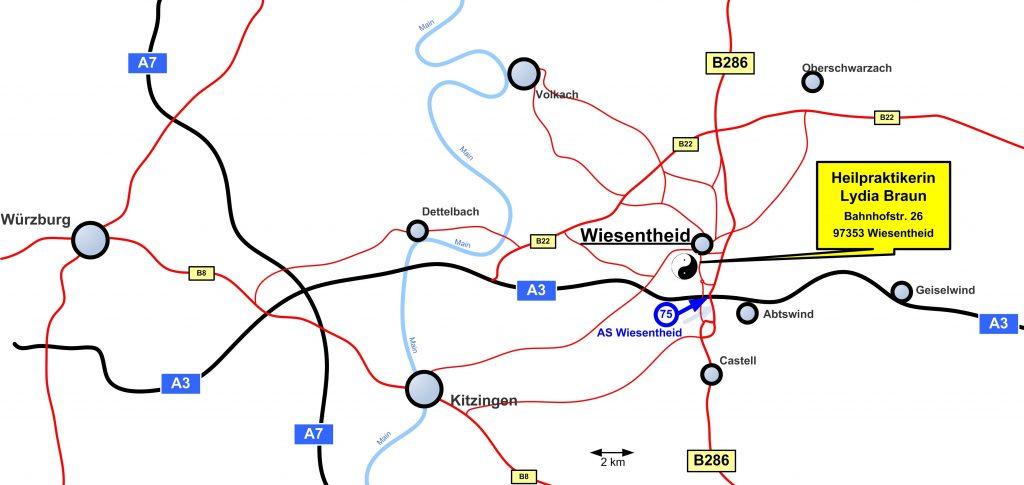 Die Naturheilpraxis liegt im Ortszentrum von Wiesentheid am Fuße des Steigerwaldes, nur wenige Auto-Minuten von Würzburg, Kitzingen, Dettelbach, Castell und Geiselwind entfernt.