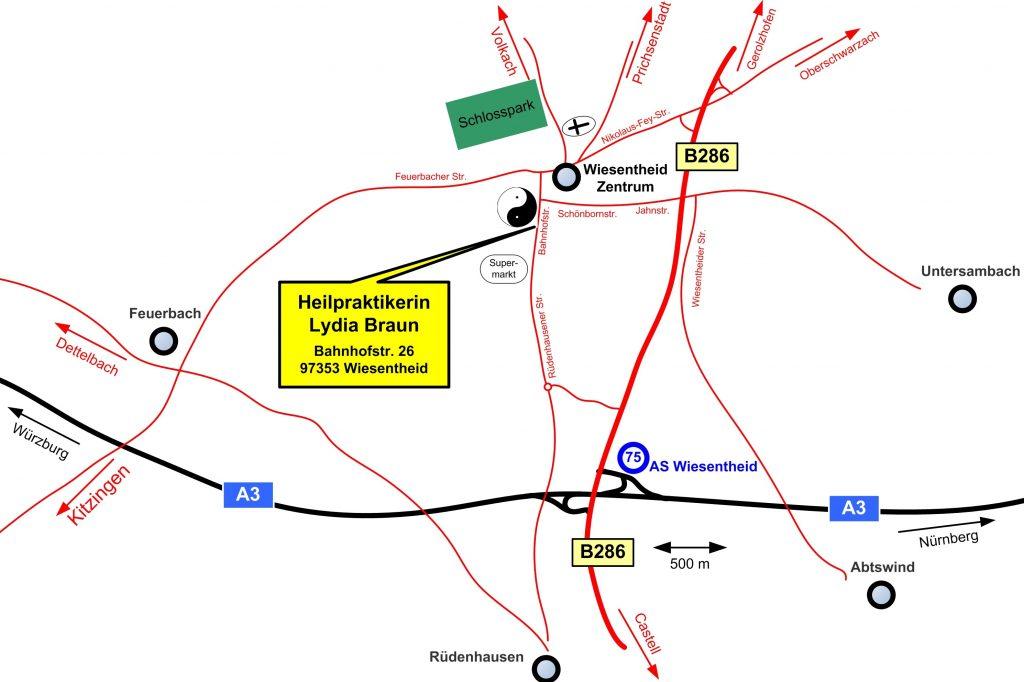 Die Naturheilpraxis liegt nur 5 Auto-Minuten von der A3 enfernt am Rande des Ortszentrums Wiesentheid.